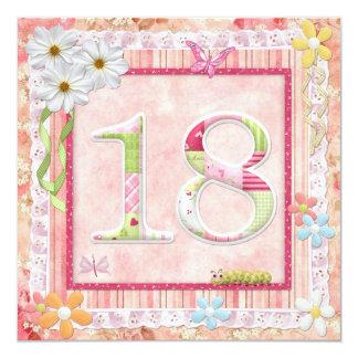 décimo octavo estilo scrapbooking de la fiesta de invitación 13,3 cm x 13,3cm