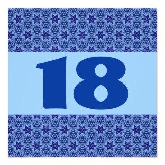 décimo octavo Estrellas azules festivas modernas Invitación 13,3 Cm X 13,3cm
