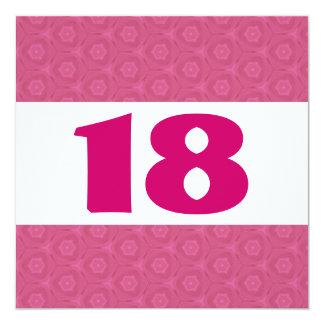 décimo octavo Estrellas festivas del rosa de la Invitación 13,3 Cm X 13,3cm