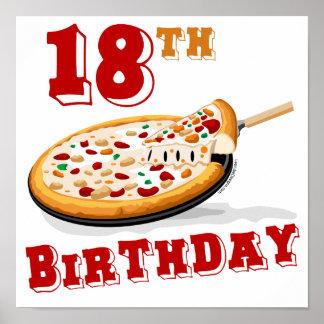 décimo octavo Fiesta de la pizza del cumpleaños Poster
