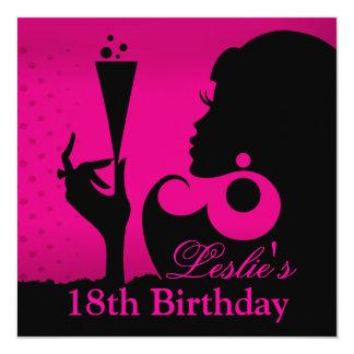 décimo octavo Fuschia del cóctel del cumpleaños Invitación 13,3 Cm X 13,3cm