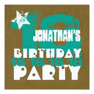 décimo octavo Grunge año Z18A1 de la fiesta de Invitación 13,3 Cm X 13,3cm