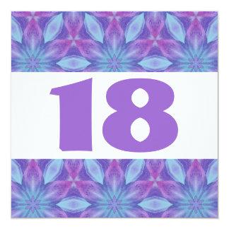 décimo octavo La fiesta de cumpleaños púrpura y el Invitación 13,3 Cm X 13,3cm