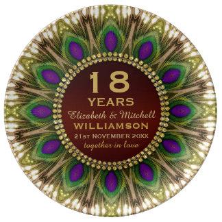 décimo octavo Pluma del pavo real de la placa el | Plato De Porcelana