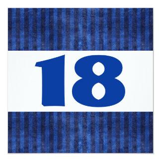 décimo octavo Rayas azules W865 moderno de la Invitación 13,3 Cm X 13,3cm