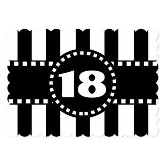 décimo octavo Rayas blancos y negros W18A de la Invitación 12,7 X 17,8 Cm