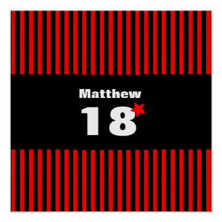 décimo octavo Rayas negras y estrella rojas R11Z Póster