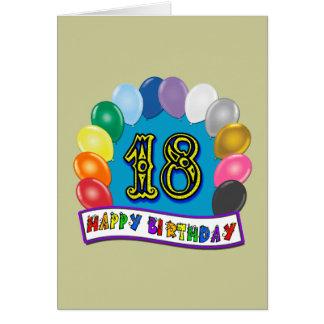 décimo octavo Regalos de cumpleaños con diseño Tarjeta