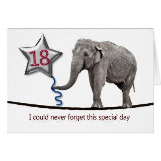 décimo octavo Tarjeta de cumpleaños con el elefant