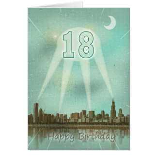 décimo octavo Tarjeta de cumpleaños con una ciudad