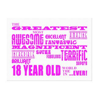 Décimo octavos cumpleaños de los chicas: 18 años m impresión en lona estirada