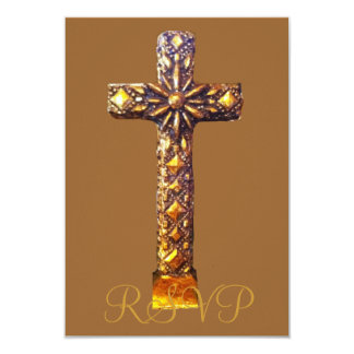 Décimo quinta cruz del oro del cumpleaños de invitación 8,9 x 12,7 cm