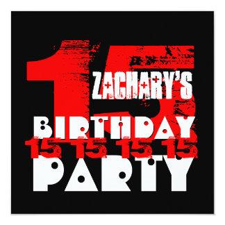 Décimo quinta fiesta de cumpleaños del NEGRO ROJO Invitación 13,3 Cm X 13,3cm