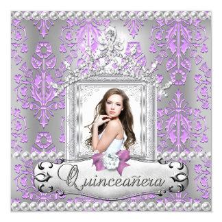Décimo quinta perla de la lila del damasco de la invitación 13,3 cm x 13,3cm