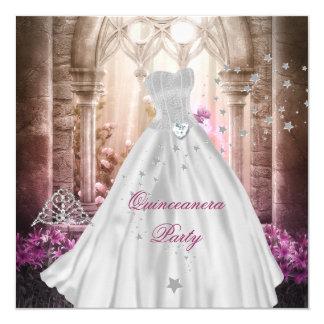 Décimo quinta princesa rosada mágica Party de Invitación 13,3 Cm X 13,3cm