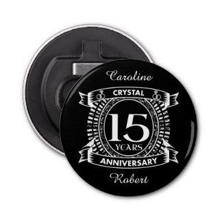 décimo quinto aniversario de boda blanco y negro abrebotellas redondo