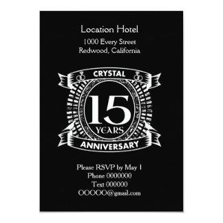 décimo quinto aniversario de boda blanco y negro invitación 12,7 x 17,8 cm