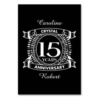 décimo quinto aniversario de boda blanco y negro tarjeta