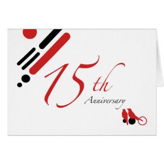 décimo quinto Aniversario (pájaros de la MOD) Tarjeta De Felicitación