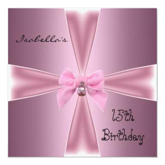 Décimo quinto arco del rosa del satén del invitación 13,3 cm x 13,3cm