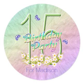 décimo quinto Arco iris y mariposas de la fiesta Invitación 13,3 Cm X 13,3cm