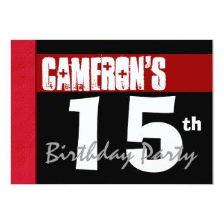décimo quinto Blanco y negro rojo moderno de la Invitación 12,7 X 17,8 Cm
