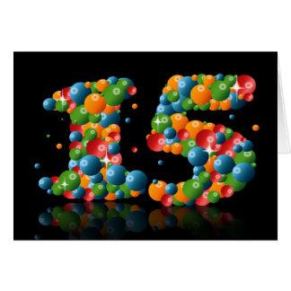 décimo quinto cumpleaños con los números formados tarjeta de felicitación