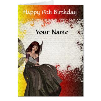 Décimo quinto cumpleaños de la hada gótica linda tarjeta