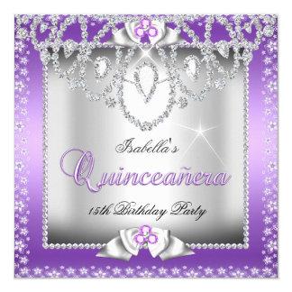 Décimo quinto diamante de plata púrpura de invitación 13,3 cm x 13,3cm