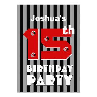 décimo quinto El gris negro moderno del cumpleaños Invitación 12,7 X 17,8 Cm