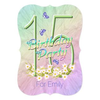 décimo quinto Jardín del arco iris de la fiesta de Invitación 12,7 X 17,8 Cm