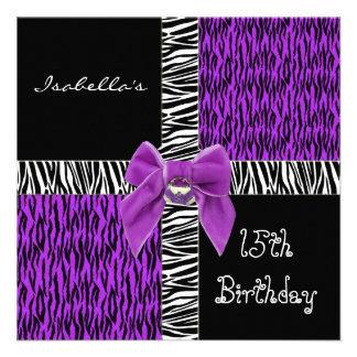 décimo quinto Negro animal púrpura salvaje del cum Invitación