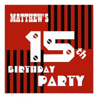 décimo quinto o cuaesquiera rayas negras rojas invitación 13,3 cm x 13,3cm