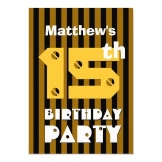 décimo quinto Rayas modernas V15TZ del cumpleaños Invitación 12,7 X 17,8 Cm