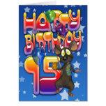 décimo quinto Tarjeta de cumpleaños, feliz cumplea