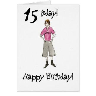 décimo quinto Tarjeta de cumpleaños para un
