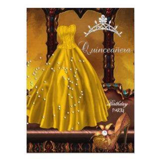 Décimo quinto vestido del oro de la fiesta de invitación 16,5 x 22,2 cm