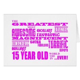 Décimo quintos cumpleaños de los chicas: 15 años m tarjeta de felicitación