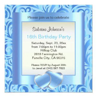 décimosexto Azul de la fiesta de cumpleaños el |, Invitación 13,3 Cm X 13,3cm