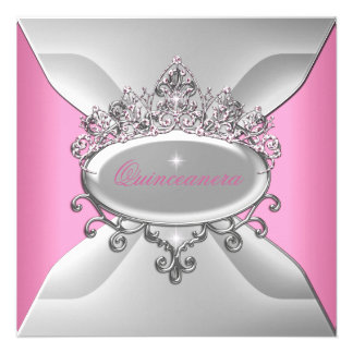 Décimosexto blanco del rosa de la fiesta de cumple invitaciones personales