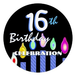 décimosexto Cumpleaños con las RAYAS AZULES de las Invitaciones Personales