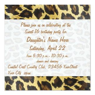 Décimosexto cumpleaños del estampado leopardo de invitación 13,3 cm x 13,3cm