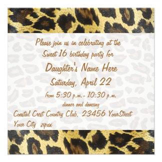 Décimosexto cumpleaños del estampado leopardo de o invitación