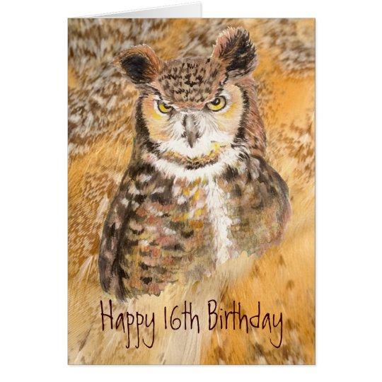 Décimosexto cumpleaños del personalizado, búho tarjeta de felicitación