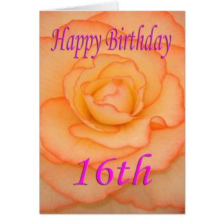 Décimosexto flor feliz del cumpleaños tarjeta de felicitación