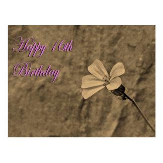 Décimosexto flor y piedra felices del cumpleaños postal