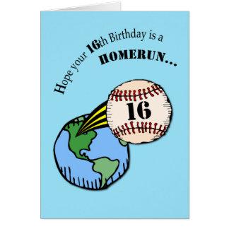 décimosexto Home run del béisbol del cumpleaños Tarjeta De Felicitación