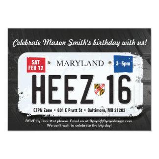 Décimosexto invitación de la licencia de Maryland