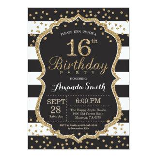 décimosexto Invitación del cumpleaños. Negro y