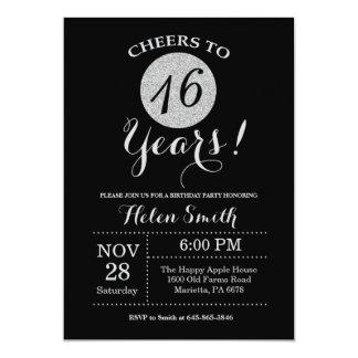 décimosexto Negro de la invitación del cumpleaños